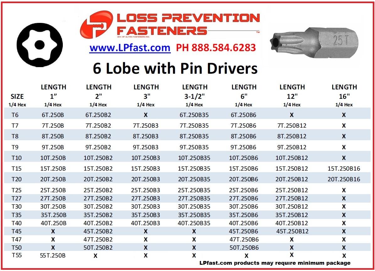6 Lobe security bits