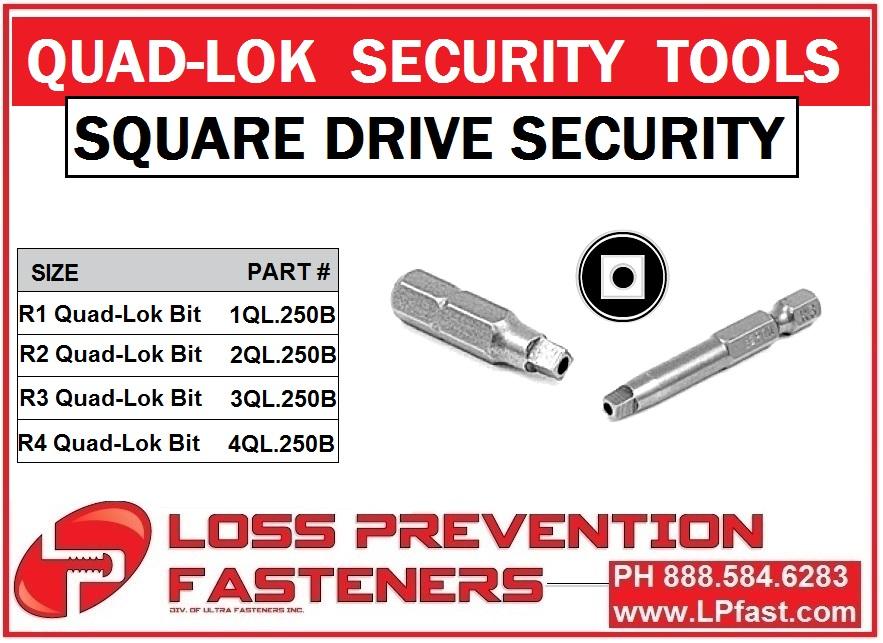 Square Drive Pin tamperproof security bits