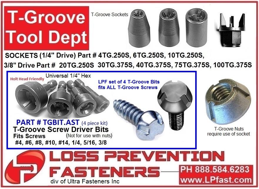 T Groove Security screws