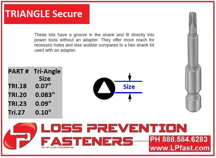 Triangle Tamper Proof Bits and Tools